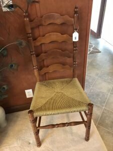 Vintage ladder back chair w/ rattan seat