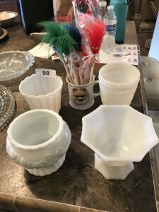 Milk glass vases; doll mug; pencils