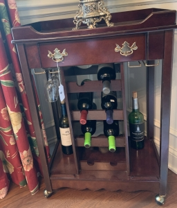 Beverage cart with built-in wine rack and glass holders