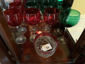 Four red and four green wine glasses, ruby & clear glass bowl