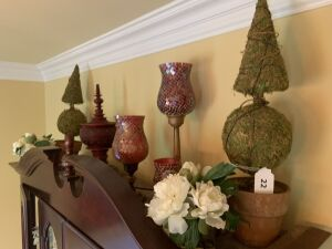 Topiaries, candleholders, decorative items