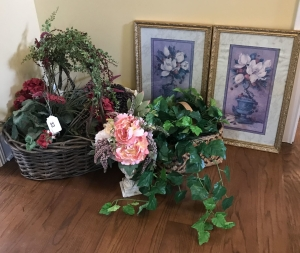 Baskets, flower arrangements and pair of pictures