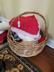 Basket with Quilts; Blankets; Pillows