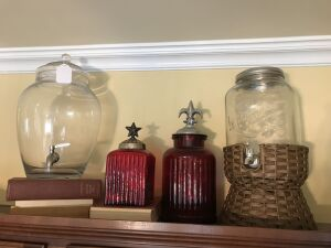 2 red canisters and 2 drink dispensers