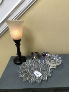 Lamp, glass dished and miscellaneous