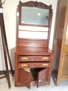 Antique Oak Wash Stand with Drawers and Cabinet on Casters