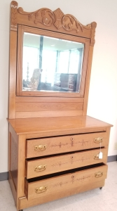 Antique Oak 3-Drawer Dresser with Mirror on Casters