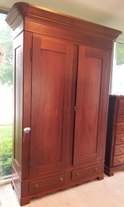 Antiue Walnut Knockdown Wardrobe with 2-Drawers