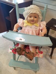 Antique Highchair and Doll