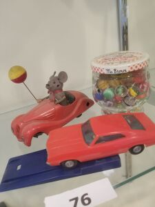 Collectible Marble and Jar; FunMate (Japan) Plastic Car; Schuco Sonny #2005 (Germany) spring back tin car