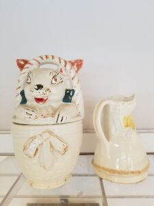 Vintage Bo  Peep Pitcher;  Bunny In Basket Cookie Jar