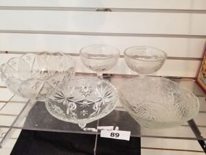 Clear Glass Bowls; Compotes