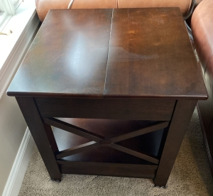 Pair of wooden end tables with one bottom drawer and flip up top for storage