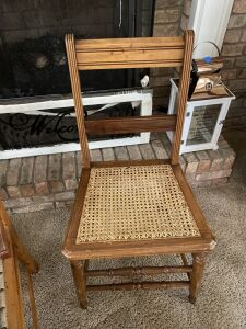 Antique cane bottom side chair