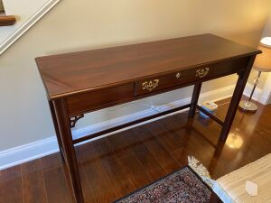 BROYHILL CHERRY CHIPPENDALE CONSOLE TABLE