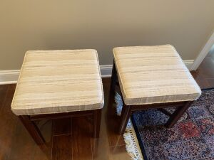 PAIR OF BROYHILL CHERRY CHIPPENDALE UPHOLSTERED BENCHES