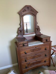 Antique walnut dresser w/ burl drawer fronts and mirror with marble insert and teardrop pulls