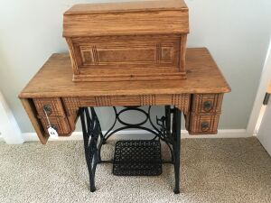 Antique New Ideal Oak treadle sewing machine
