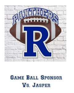 Game Ball Sponsor Vs. Jasper