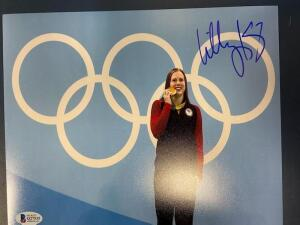 Autographed Photo of Lilly King holding Olympic Gold Medal