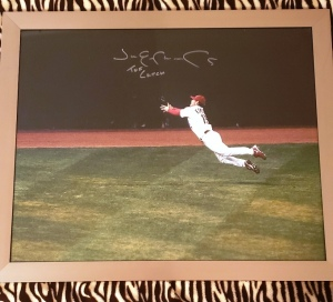 "Framed Autographed Picture of Jim Emmonds-St. Louis Cardinals World Series ""The Catch"""