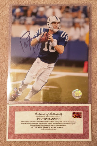 Autographed Peyton Manning Photo with Certificate of Authenticity