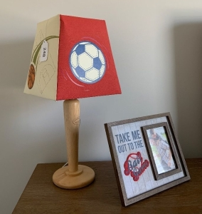 Sports theme dresser lamp & picture frame