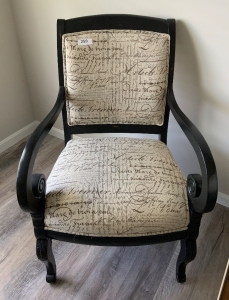Wood frame arm chair with upholstered seat and back