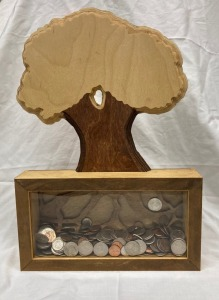 Handmade Tree Bank with Coins
