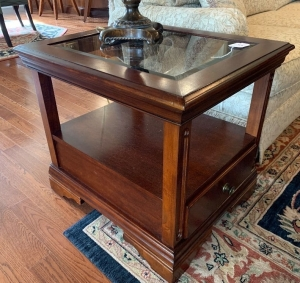 Wood & glass 1 drawer lamp table
