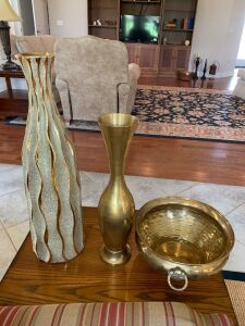 Brass planter & vase, ceramic vase