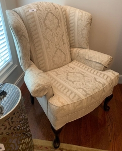 International furnishings Queen Anne style upholstered chair