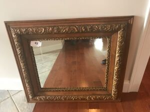Oak frame antique w/ gold trim