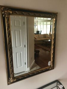 Gold framed beveled edge mirror