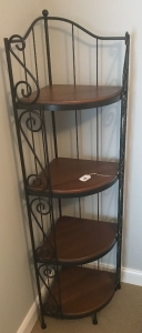 Wrought iron & wood corner shelf