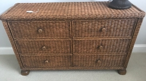 Wicker 6 drawer dresser base w/ wood feet