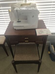 Bernina bernette 55 sewing machine w/ wooden cabinet & bench