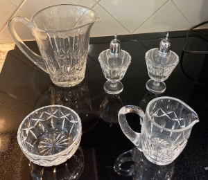 Waterford small bowl, glass pitcher, creamer, salt and pepper