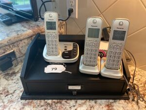Panasonic cordless phones with answering machine, table top organizer