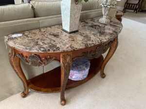 Half round table with marble top