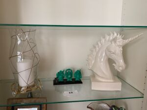 Ceramic unicorn, candle holder, faux jade figurine