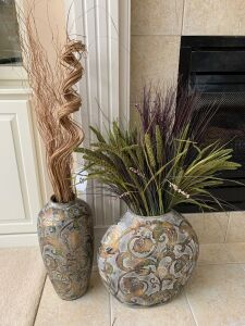 Pair of vases with artificial plants
