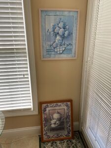 Small mirror and 2 framed pictures