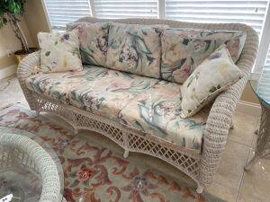 Wicker 3 cushion sofa