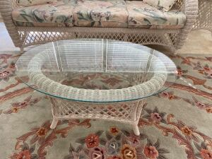 Wicker glass top coffee table and lamp table