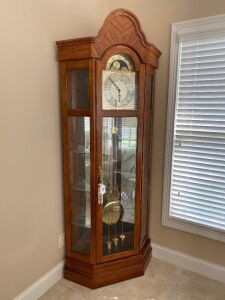 Ridgway Corner Grandfather clock with lighted curio cabinet on sides