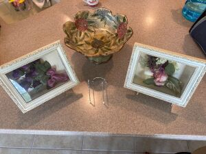 3 Shadow boxes, stands and pedestal bowl