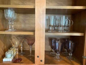 4 purple glasses, 3 stemmed glasses, glass mugs
