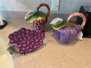 Grape pattern pitcher, eggplant pitcher, grape plate with stand