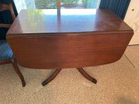 Mahogany drop leaf table with drawers